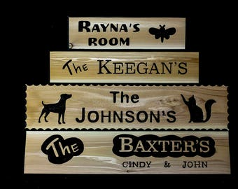 Custom Carved Wood House Family Name Signs