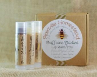 Caffeine Addict Lip Balm Trio || Organic Lip Balm || Lip Balm Set || Organic Lip Balm Set || Christmas || Stocking Stuffer