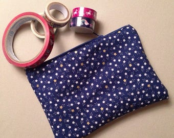 Cotton and leatherette pencil case/pen holder