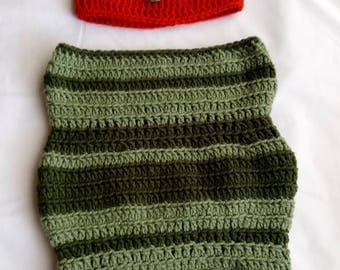 Caterpillar baby photo prop hat and cocoon set red, green, yellow