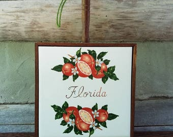 Vintage Florida Wall Hanging- Souvenir Decorations & Decor- White Ceramic/Brown Wood- Oranges, Floral, White Flowers- Kitchen/Dining Room