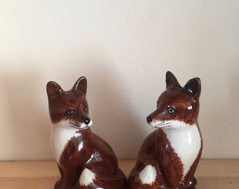 Retro Vintage Foxes Hand Painted Salt and Pepper Shaker Pair by Quail Ceramics