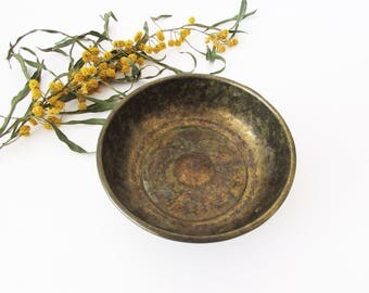 Vintage Brass Bowl, Vintage Turkish bath bowl, Turkish bathroom, Hamam bowl, Home decor, Soap dish.