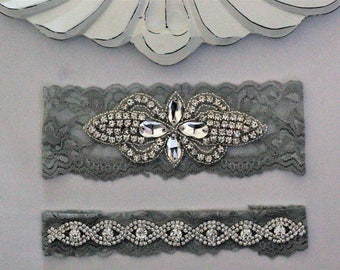 Gray Bridal Garters, Wedding Garter Set NO SLIP grip, vintage wedding garter, pearl and rhinestone garter set, Crystal Wedding Garter