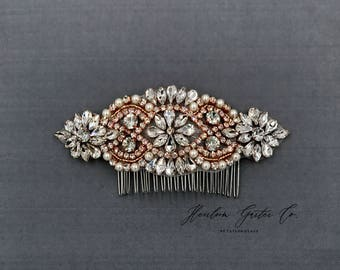 Rose Gold Wedding Hair Comb, Pearl and Rhinestone, Bridal Headpiece, Rhinestone Hairpiece, Hair Accessory