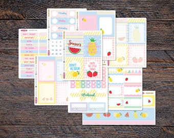 35% SALE Summer Fruit Weekly Kit for Erin Condren Life Planner Spread Tropical Pineapple Lemon Watermelon Strawberry Foodie Food KES003-Kit
