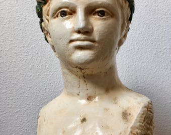 Beautifull Roman plaster bust of a young boy