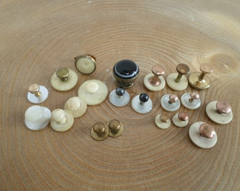 Mixed Lot Antique Shirt Collar Studs,Mother of Pearl, Bone,Gilt,Hematite,Wiley & Sons 'bulls eye banded onyx', pairs and singles