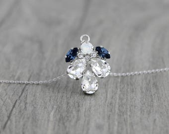 Navy Blue necklace, Crystal Bridal necklace, Bridal jewelry, Blue crystal necklace, Bridesmaid necklace, Dainty necklace, Swarovski crystal