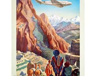 Peru Travel Poster - Vintage Pan American Travel Print Art - PanAm Home Decor - Peru of the Incas