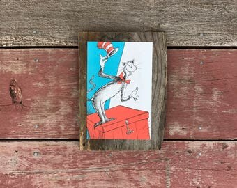 Dr. Seuss, Cat in the Hat | Peace by Piece Reclaimed Wood Children's Book Illustration Wall Art | Hanging Dr. Seuss Wall Art | Made to Order