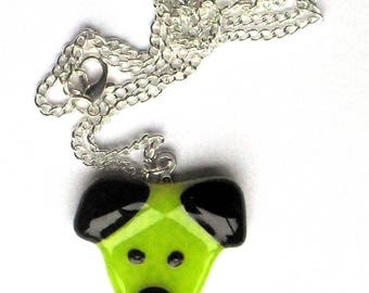Lime green doggy necklace