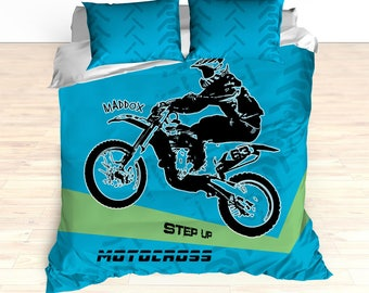 Personalized Motorcycle Bedding, Motocross Comforter, Motocross Duvet, Motocross Bedding, Dirt Bike Bedding, Freestyle Motocross, Ocean Blue