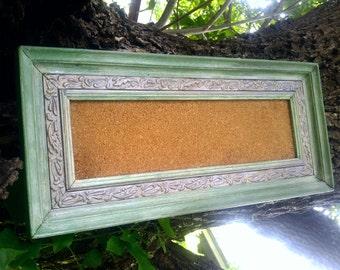 Green Memo Cork Board , Green and Silver Frame Bulletin Board, Family Organization, Dorm Room Decor