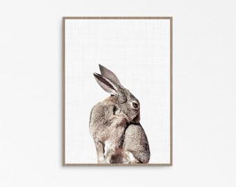 Bunny kids decor, Rabbit wall print, woodland animals, Rabbit print, Bunny wall art print, woodland poster, nursery wall art, bunny print,