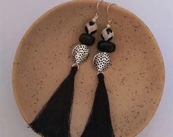 Black tassel and bead earrings with sterling silver hooks