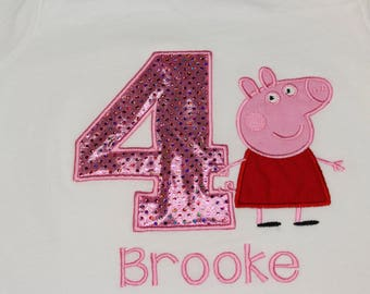Peppa Pig Birthday Shirt ONLY Any age or Size Embroidered