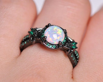 Superbe Black Gold Filled Fire Opal Promise Ring, Engagement Ring,Wedding Ring