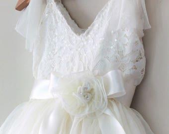 Flower Girl Dress- Flower Girl Dress- Birthday Girls lace dress
