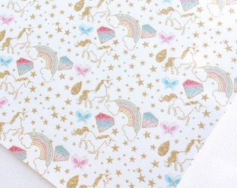Unicorn and Rainbows Faux Leather | Printed Faux Leather | Unicorn Leather | Unicorn Rainbow Fabric | Leatherette | Unicorn Print Fabric