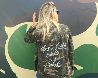 Vintage 90s Camouflage Army Jacket/ Camouflage Jacket, Army Jacket, Military Jacket, Personalized Camouflage Army Jacket, Personalized Gift