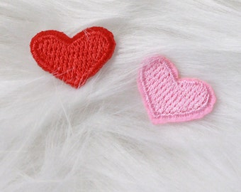 Red and Pink Hearts DIY Iron-on Embroidered Patch!