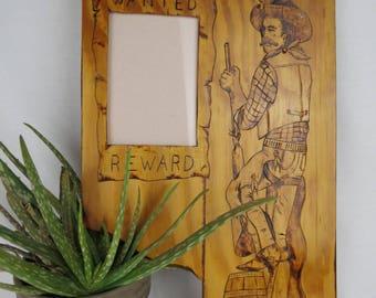 Vintage Wood Burned Pyrography Cowboy Western Frame