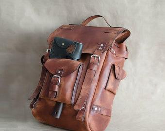 Vintage Leather Backpack ,Leather Rucksack Backpack, Travel Backpack , Men's Backpack , Handmade Backpack, Shoulder Bag