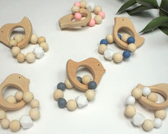 Wooden Bird Teether With Silicone Beads, Natural Wood Teether, White Hexagon Silicone Bead, Honeycomb Wood Bead, Gender Neutral Teether