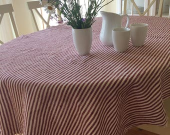 Red and White Striped Tablecloth, Linen Tablecloth, Red and White Striped Linen Tablecloth