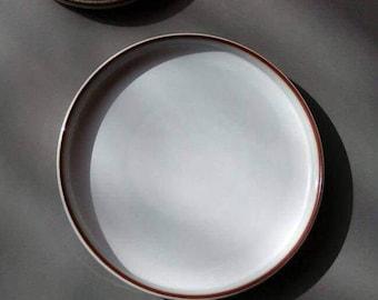 Soholm stoneware Danish Modern Dinner Plate Sonja Joseph Simon Tableware Gray and Brown Bornholm