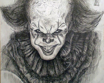 IT Original Drawing Fan Art Wall Art Horror Movie