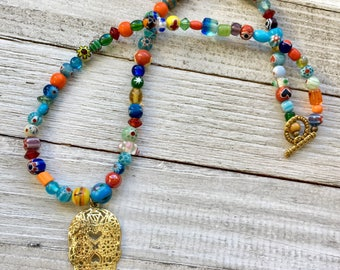 Day of the Dead Skull Necklace, Day of the Dead Beaded Necklace, Beaded Skull Necklace, Skull Necklace, Skull Jewelry, Statement Necklace