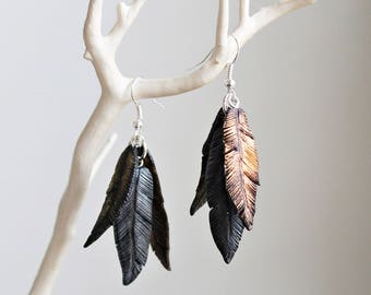 Feather Earrings - Polymer Clay Earrings - Metallic Earings - Birthday Gift - Silver Gold and Copper - Dangle Earrings - Metallic Feathers