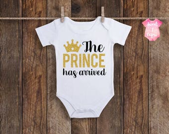 The Prince Has Arrived, Newborn Boy Coming Home Outfit, Baby Boy Onesie, Baby Boy Coming Home Outfit, Baby Boy Clothes, Baby Boy Onesie