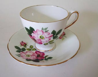Vintage Delphine Bone China Cup And Saucer