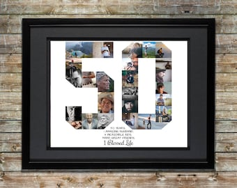 50th Birthday / Anniversary Photo Collage - 50th Birthday Gift - 50th Anniversary Gifts - Number Photo Collage - Personalized Photo Collage