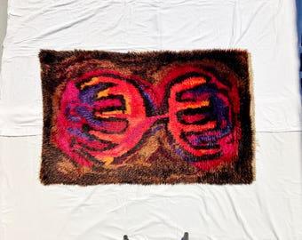 Vintage Scandinavian Rya Wool Shag Rug 3'X5'