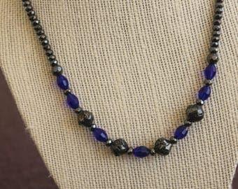 Hematite and Cobalt Beaded Necklace
