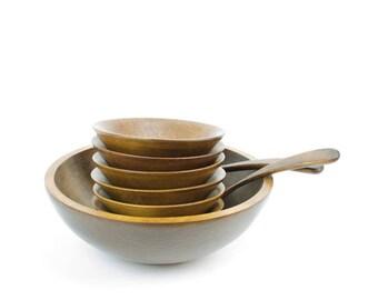 Rustic Wood Salad Bowl Set, Baribocraft Salad Bowl Set, Vintage Wooden Salad Bowls