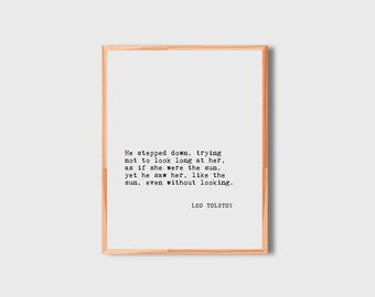 Book Quote Print, Leo Tolstoy, Literary Quote, Literary Print, Book Poster, Book Quote Print, Book Print, Book Art, Quote Print