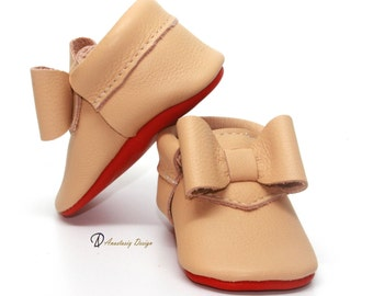 Light Tan Bow Leather Baby Moccasins Baby Girl Moccasins Red Bottom Louboutin Inspired Baby Girl Shoes