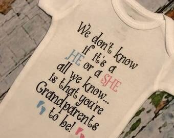 Baby Grandparent Reveal Announcement Bodysuit, Baby Announcement, Baby Bodysuit, Grandparent Reveal, Grandparent Bodysuit, Baby Announcement