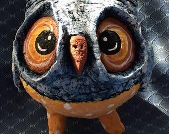 Cute Owl - Papier-mache owl-Home Decor toy-Papier mache sculpture- OOAK