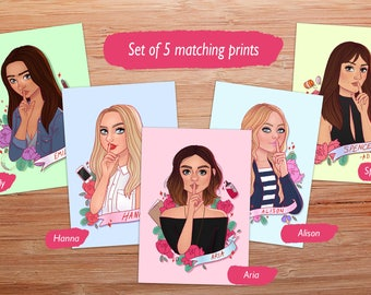 Pretty Little Liars, complete set of 5 prints
