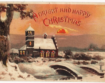 Vintage Novelty Postcard,HOLD TO LIGHT,Christmas,Snow,Church,Stain Glass Windows,1907