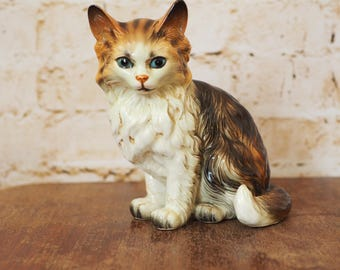 Vintage Long Haired Porcelain Cat