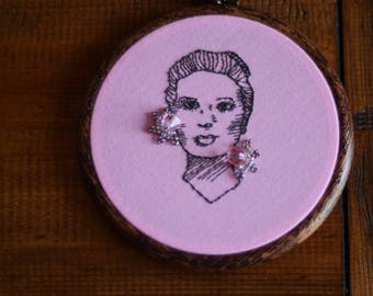 """Grace Kelly embroidery hoop art with beadwork in 5"""" hoop. Home decor; embroidered art; female celebrity portrait"""