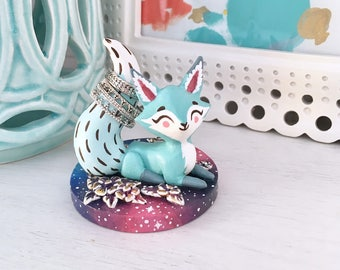 Teal Fox Ring Holder with Galaxy Base - READY TO SHIP