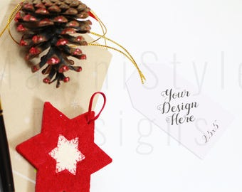 Gift Tag Mockup, Christmas Gift Tag Template, Holiday Styled Stock Photography, Christmas Stock Photo, Tag Stock image, Smart Object, 591